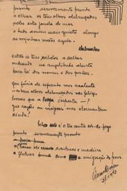 """[Pronto serenamente pronto] / Álamo Oliveira. - 1 f. dobrada ao meio ; 21 cm. - Poema ms. datado de """"27-11-973"""".  Col. particular Álamo Oliveira"""