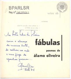 Dedicatória ms. do autor a Pedro da Silveira, out. 74