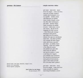 """Poemas de(s)amor / Álamo de Oliveira ; desenhos de Leonardo Mello. - [S. l.] : [s. n.], 1973. - [16] p. : il. ; 23 cm  Col. particular Álamo Oliveira  Imagem retirada do livro """"O meu coração é assim""""."""