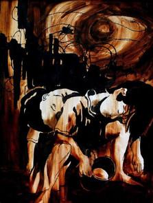 Fome. 1979 Tinta da China sobre papel de tela  Col. particular Cecília Melo