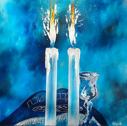 "SHABBOS IN BLUE 24 1/2"" x 24"""
