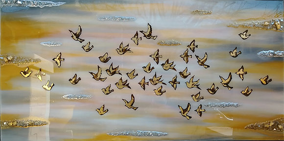 "BIRDS, GOLDEN FLOCK 24"" x 48"""