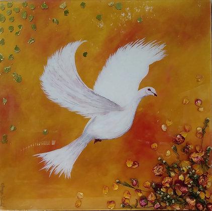 "FLOWERS N BIRDS 24""x 24"""