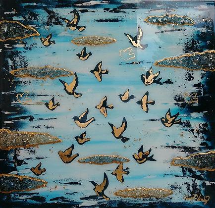 "BIRDS, IN UNITY 24"" x 25"""