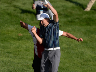 Jordan Spieth hit an insane bunker shot to win the Travelers Championship and went berserk with his