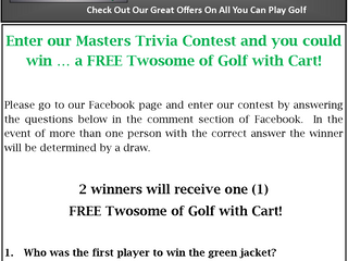 Check Out Our Masters Contest - Win Free Golf
