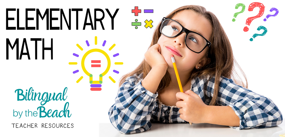 Here you will find bilingual elementary math lessons, games, activities, ideas, and products for teachers and students in grades Pre-K to 4th in digital and printable formats.