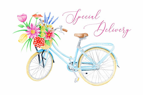 Flower Bike Greeting Card