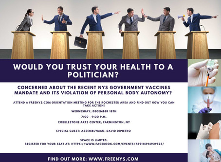 Dec. 18th. Attend Orientation Meeting for the NYS Government Vaccines Mandate