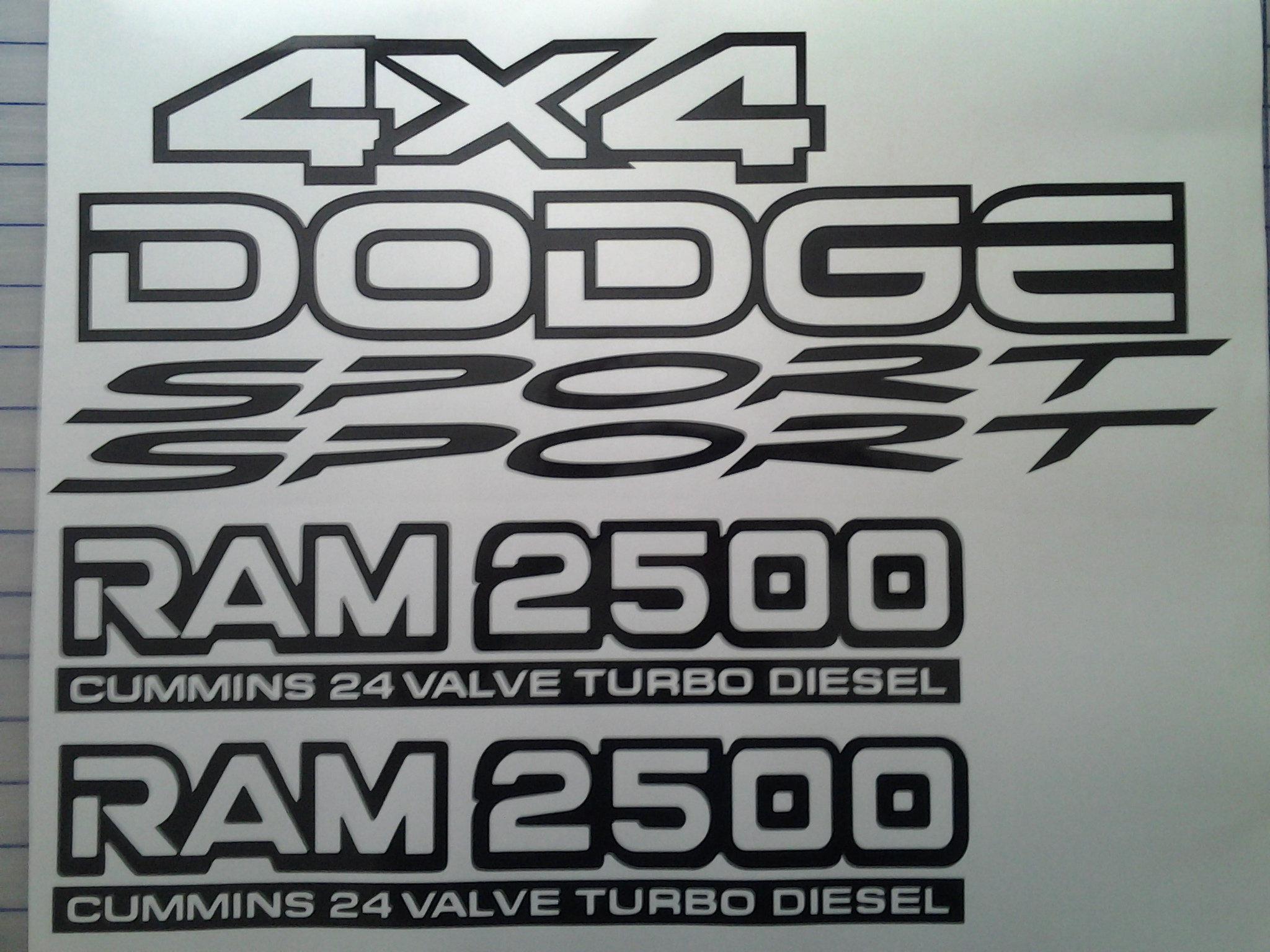 Dodge Cummins 2500 Ram 24 Sport 4x4 Decal Kit Performance Decals