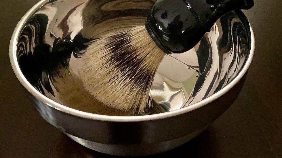 Metal Shaving Bowl and Brush