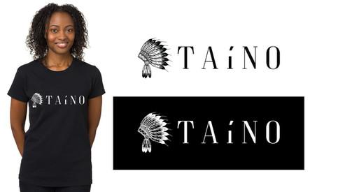 TAINO Logo on black T Shirt designed by