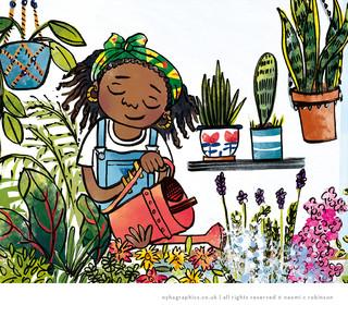 Black Woman Gardening, Wellbeing Illustr