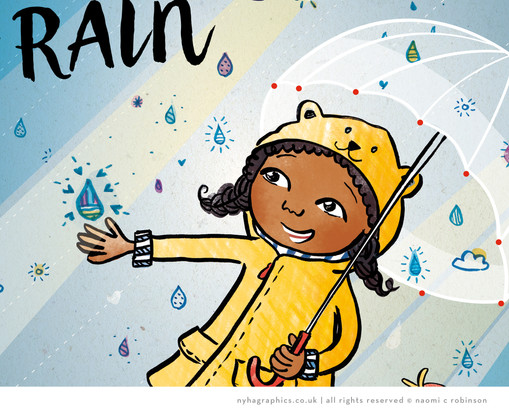Rainy Day, Black Girl Illustration Calen