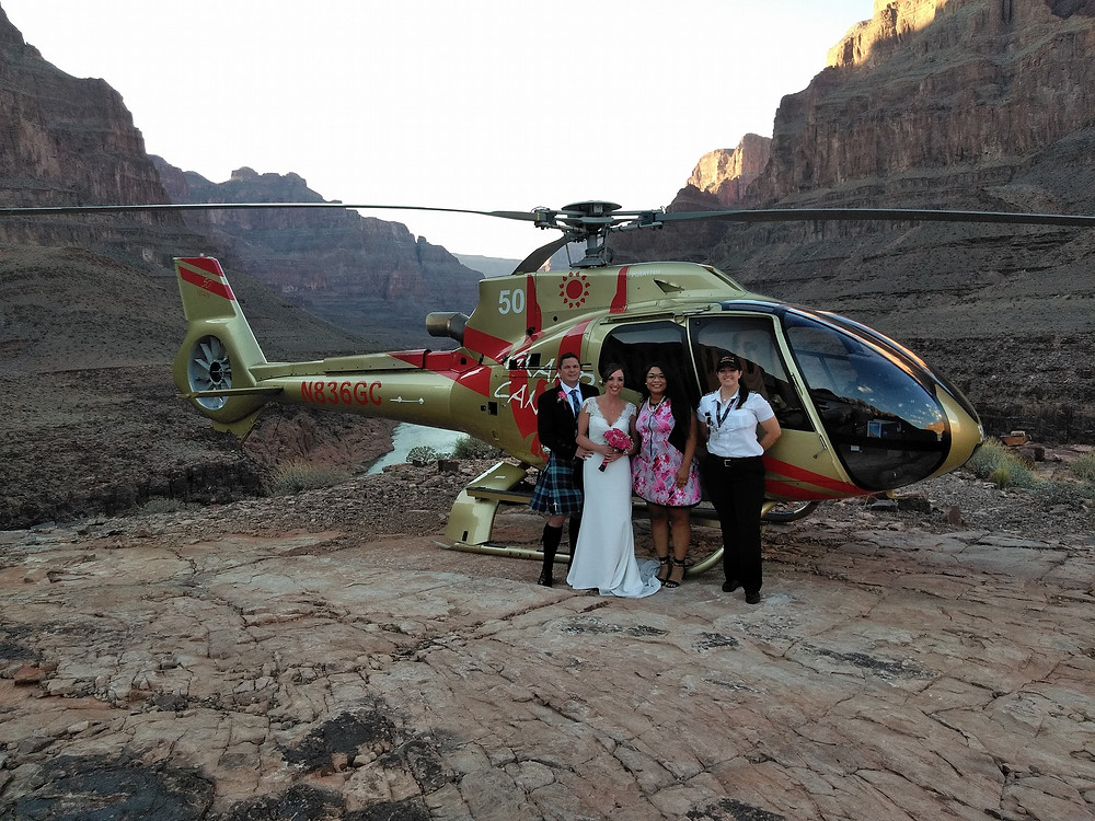 Grand Canyon helicopter wedding with Minister Ericka