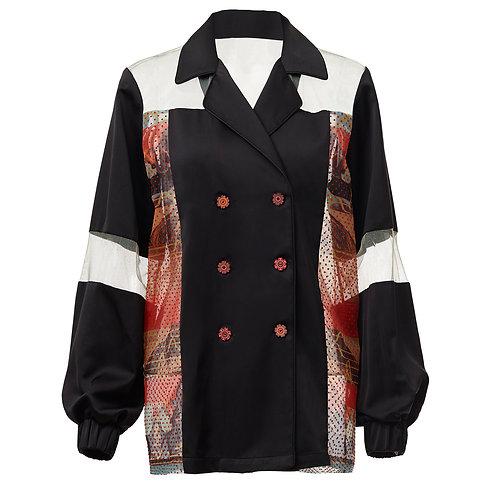 Greta, jacket, zero waste, by moumi, collage, cats, black, orange