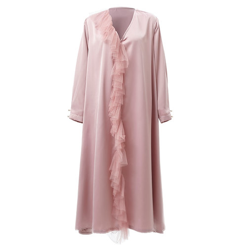 by moumi, dress, kaftan, long, tulle, polyester, pink, plain