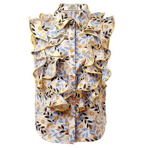 by moumi, manooshby shirt, floral, sleeveless, ruffles, frills, blue, yellow