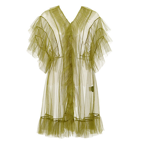 by moumi, green, tulle, dress, babydoll