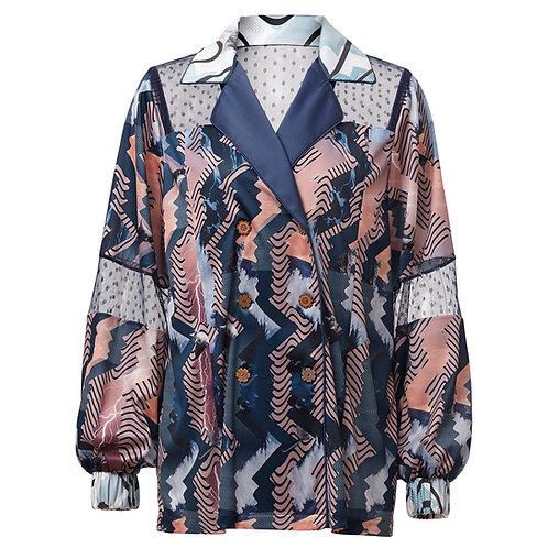 Greta, jacket, zero waste, by moumi, collage, cats, blue, print