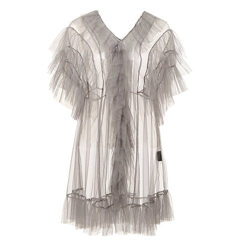 by moumi, grey, tulle, dress, babydoll