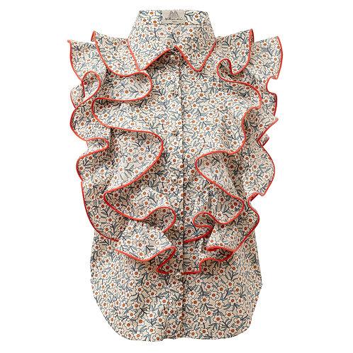 by moumi, manooshby shirt, floral, sleeveless, ruffles, frills, white