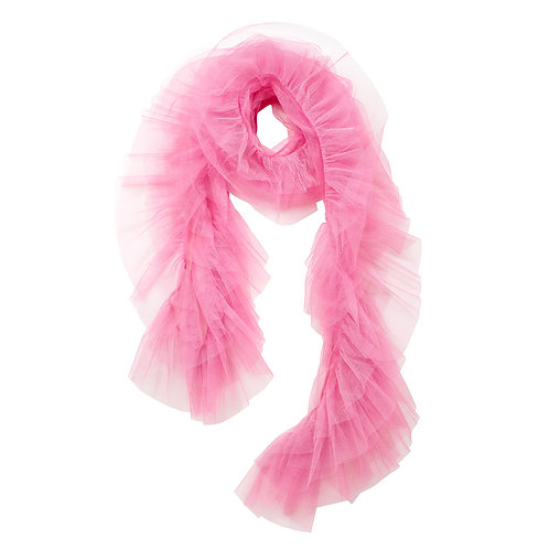 super sweet, supersweet, tulle, boa, scarf, by moumi, moumi, frills, ruffles, flamingo, pink