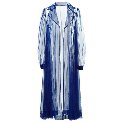 by moumi, coat, jacket, long, tulle, electric, blue, polyester, see through, seethru, transparent