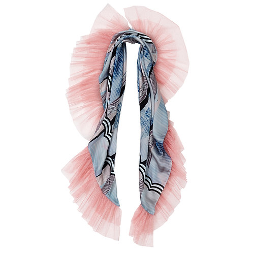 shawl, scarf, pink, pastel, cat, cats, myogi, by moumi, frills, ruffles, satin, tulle