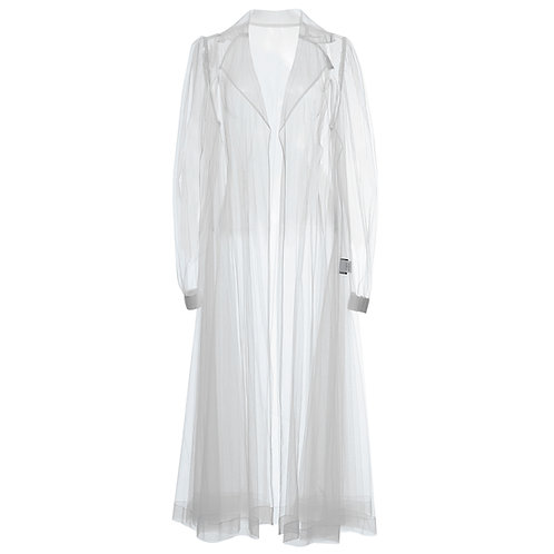 by moumi, coat, jacket, long, tulle, white, polyester, see through, seethru, transparent