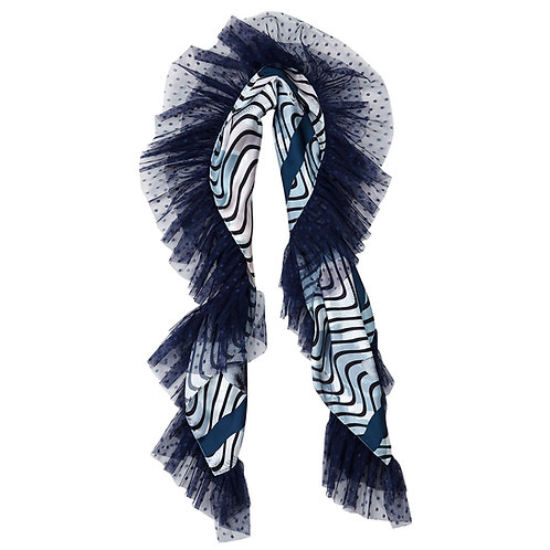 shawl, scarf, navy, monochrome, cat, cats, moumi, by moumi, frills, ruffles, satin, tulle