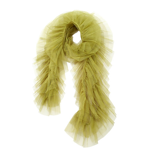 super sweet, supersweet, tulle, boa, scarf, by moumi, moumi, frills, ruffles, green, olive
