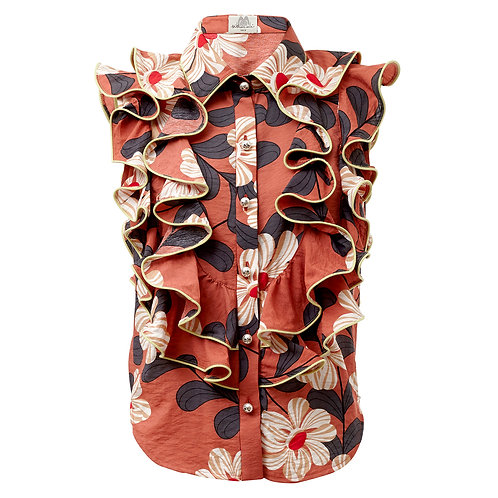 by moumi, manooshby shirt, floral, sleeveless, ruffles, frills, brown