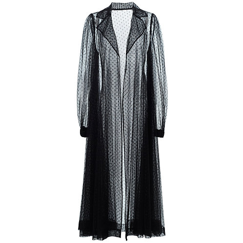 by moumi, coat, jacket, long, tulle, black, dot, dots, polka, polyester, see through, seethru, transparent