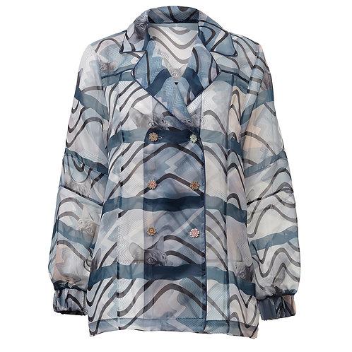 Greta, jacket, zero waste, by moumi, collage, cats, blue, print, organza