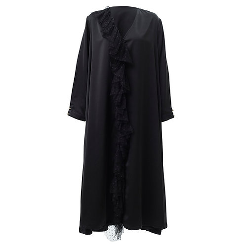 by moumi, dress, kaftan, long, tulle, polyester, black, plain, dot, dots, polka
