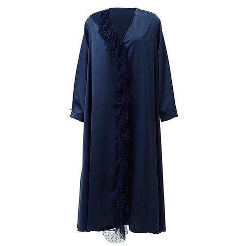 by moumi, dress, kaftan, long, tulle, polyester, blue, dark, navy, plain, dot, dots, polka