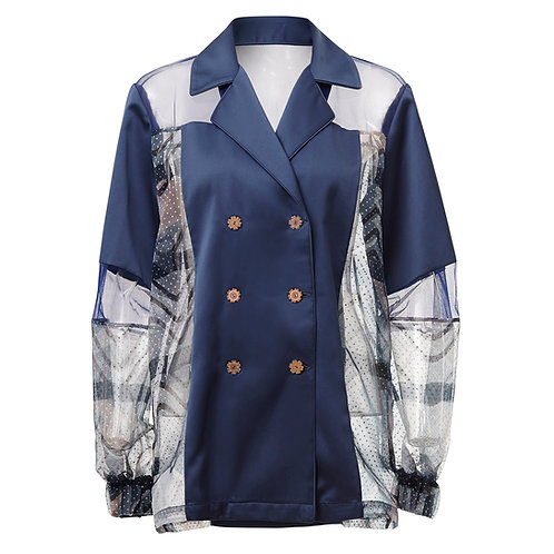Greta, jacket, zero waste, by moumi, collage, cats, blue