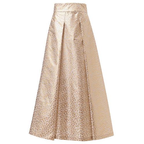 by moumi, moumi, meow, gold, foil, print, white, metallic, skirt, midi, a-line, greatest hits