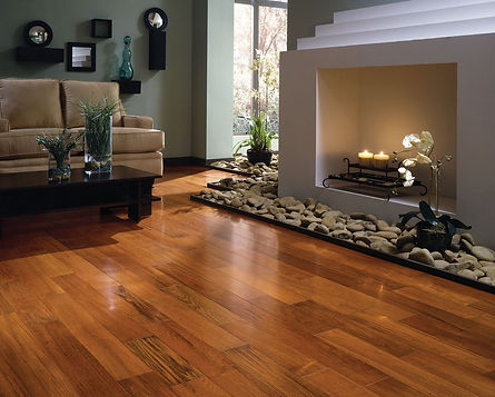 Hardwood in living room with faux fireplace