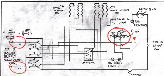 garage heater wiring plan skye cooley fine woodworking question 1 line power comes in at left into terminals 1 and 5 but i have two dangling wires for a single pole thermostat that has been removed which i
