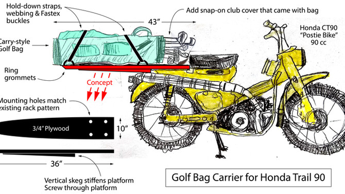 Golf Club Rack for Honda Trail 90