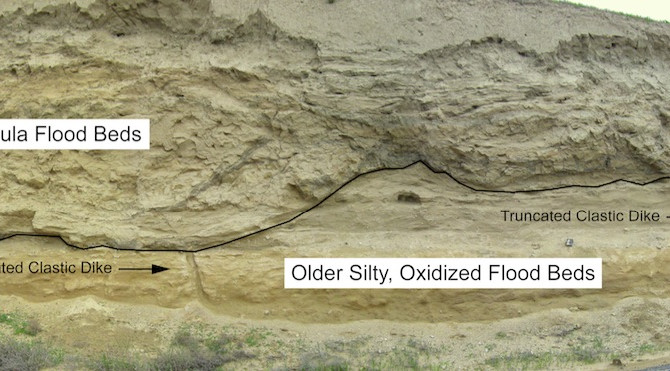 Two Generations of Clastic Dikes in Ice Age Flood Deposits