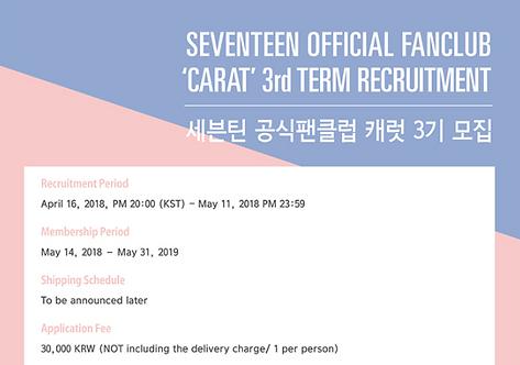 ★SEVENTEEN 公式ファンクラブ<CARAT>3期 加入代行