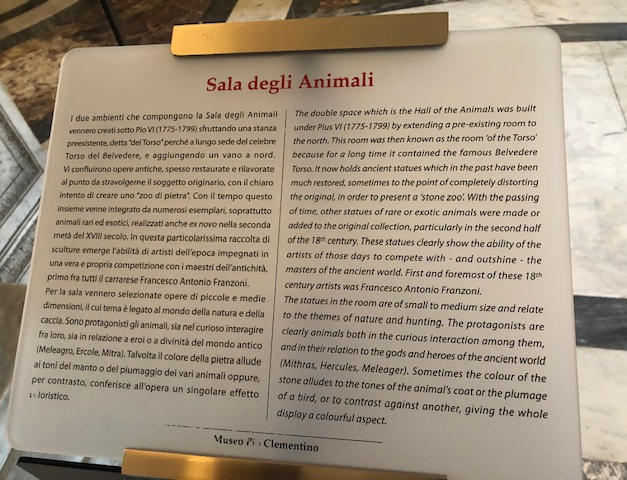 Hall of the Animals Placard