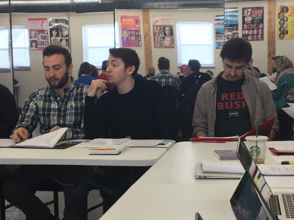Jimmy Mann, Michael Sprenger, James Mueller read script. Chicago Immersive Theatre