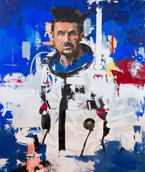 astronaut portrait painting