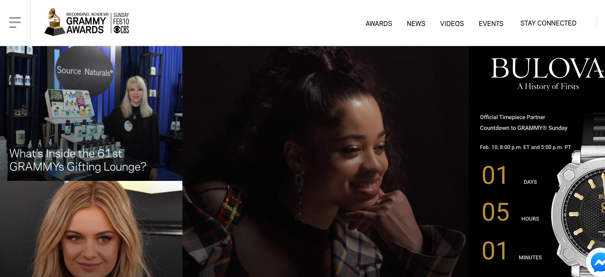 Top placement on official Grammy website