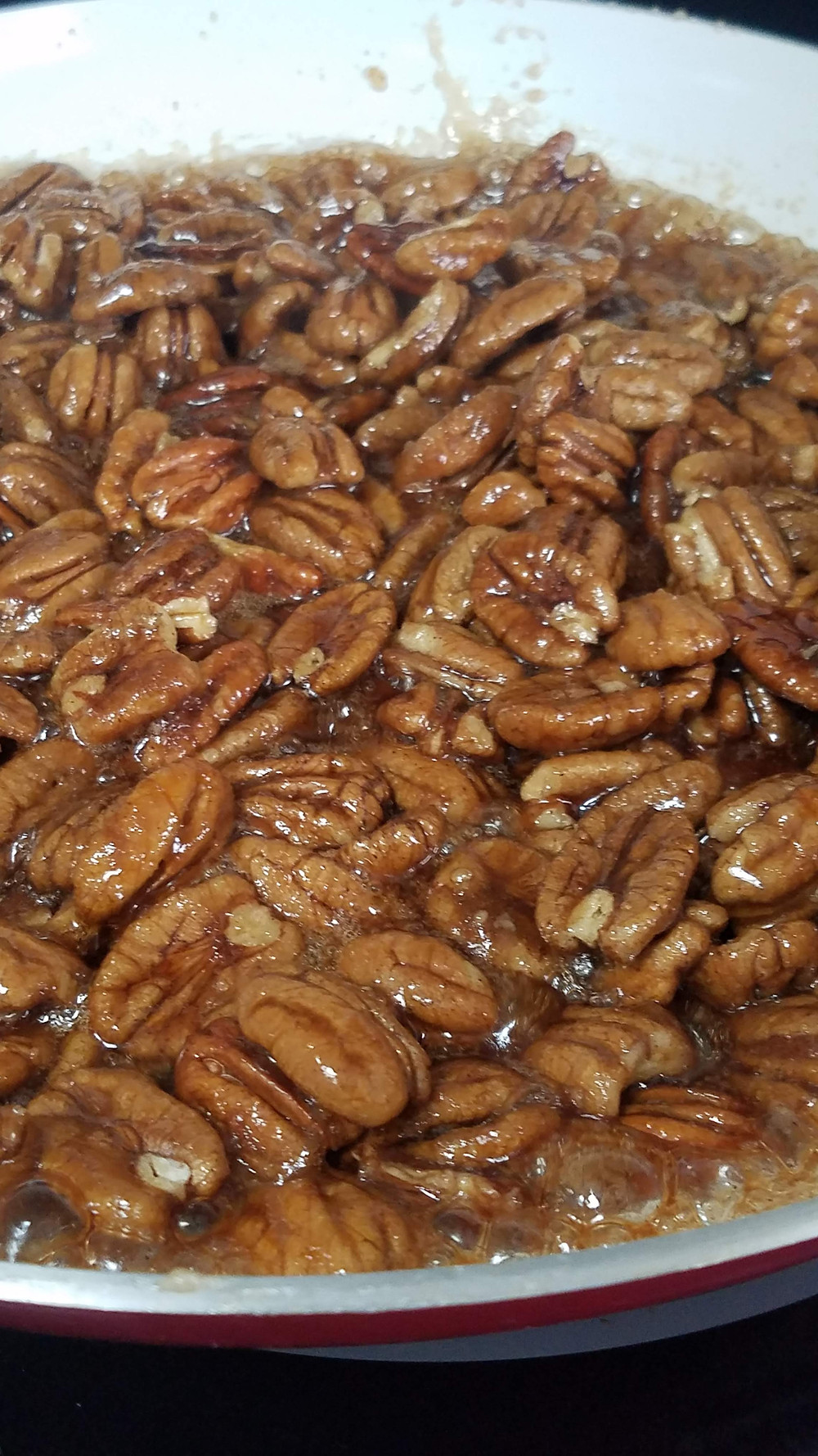 Make sure the pecans are covered in sugar glaze.