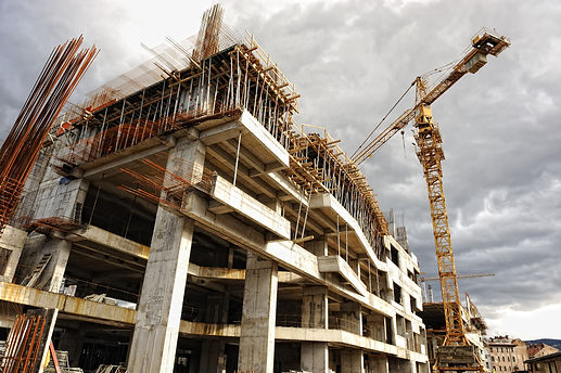 Construction site with crane and buildin